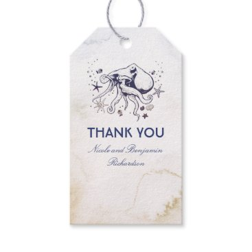 Beach Themed Navy Octopus Beach Watercolors Wedding Gift Tags