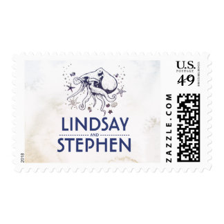 Navy Octopus Nautical Beach Watercolor Wedding Postage