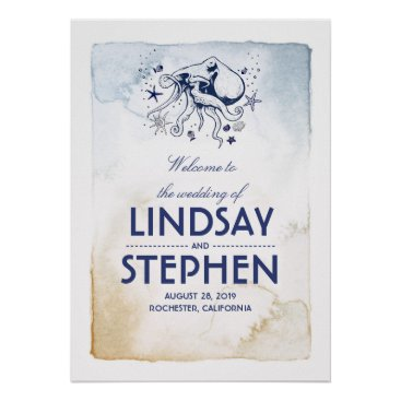 Beach Themed Navy Octopus Nautical Watercolors Wedding Sign Poster