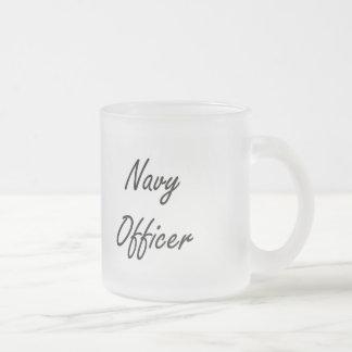 Navy Officer Artistic Job Design 10 Oz Frosted Glass Coffee Mug