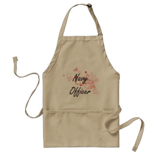Navy Officer Artistic Job Design with Hearts Adult Apron