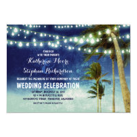 navy ombre beach wedding invitations