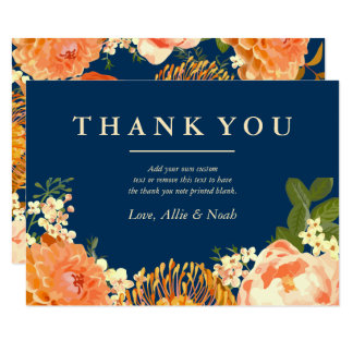 Navy & Orange Floral Thank You Card