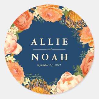 Navy & Orange Floral wedding Classic Round Sticker