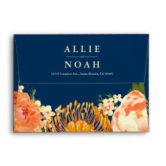 Navy & Orange Floral Wedding Envelope