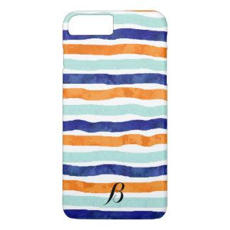 Navy Orange Sky Blue Stripes iPhone 7 Plus Case