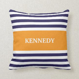 Navy Orange Stripes Monogram Throw Pillow