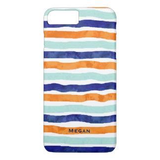 Navy Orange Stripes Name iPhone 7 Plus Case