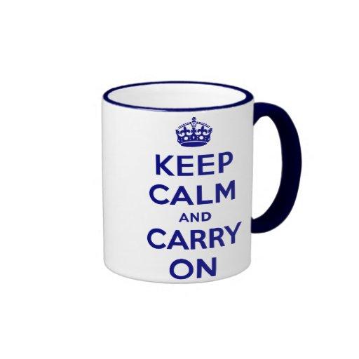 Navy Original Keep Calm and Carry On Ringer Mug