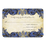 "Navy Paisley Peacock Colors Wedding Response Cards 3.5"" X 5"" Invitation Card"