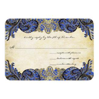 "Navy Paisley Peacock Colors Wedding Response Cards 3.5"" X 5"" Invitation Card"