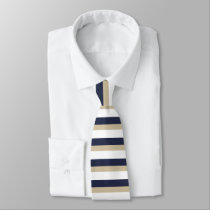 Navy Pale Gold and White Horizontally-Striped Tie