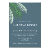 Navy palm leaves rehearsal dinner invitations