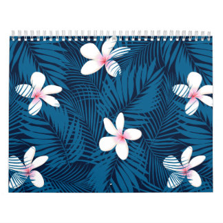 Navy palm leaves with frangipani calendar