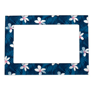 Navy palm leaves with frangipani magnetic photo frame