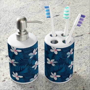 adamfahey Navy palm leaves with frangipani soap dispenser & toothbrush holder