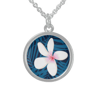 Navy palm leaves with frangipani sterling silver necklace