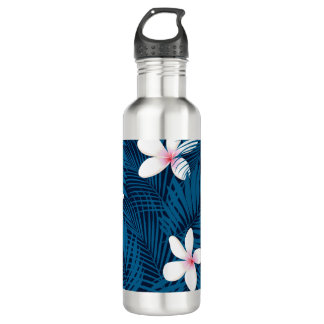 Navy palm leaves with frangipani water bottle