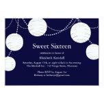 Navy Party Lantern Sweet 16 Invitation