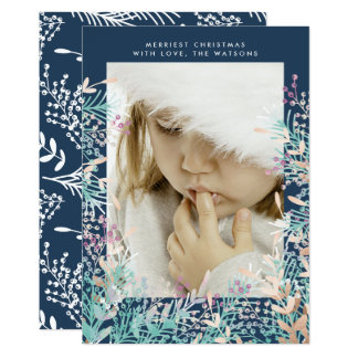 Navy Pastel Berries Christmas Holiday Photo Card