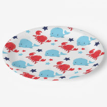 Navy pattern paper plate