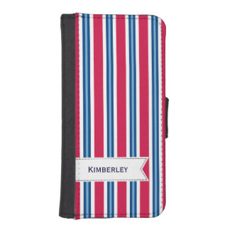 Navy pattern phone wallet cases