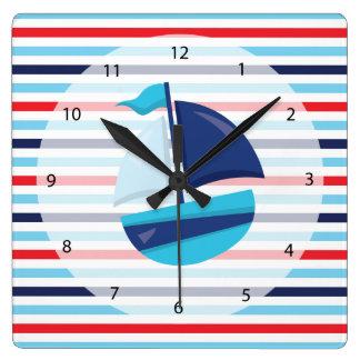 Navy pattern square wall clock