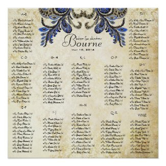 Navy Peacock - 100 to 150 guests - alphabetical print