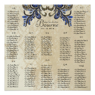 Navy Peacock  - 100 to 150 guests - alphabetical Posters