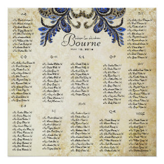 Navy Peacock  - 100 to 150 guests - alphabetical Poster