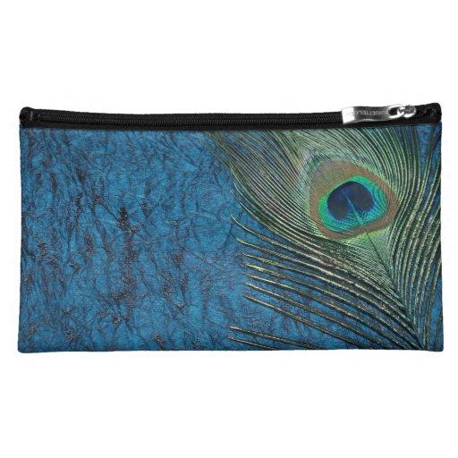 Navy Peacock Makeup Bag