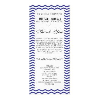 Navy Perfect Chevron/Zig Zag Wedding Program Custom Rack Cards