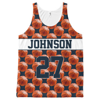 Navy Personalized Basketball Tank All-Over Print Tank Top