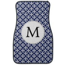 Navy Personalized Monogram  Double Rings pattern Car Mat