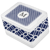 Navy Personalized Monogram  Double Rings pattern Cooler