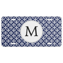 Navy Personalized Monogram  Double Rings pattern License Plate