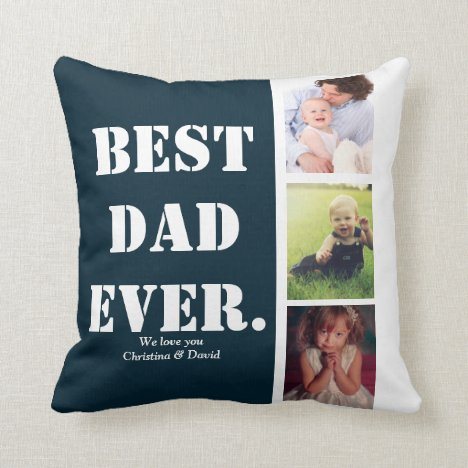 Navy Personalized Photo Collage Father's Day Gift Throw Pillow