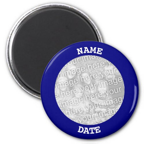 Navy Personalized Round Photo Border Magnet