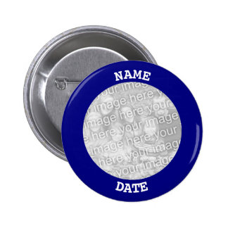 Navy Personalized Round Photo Frame Pinback Button