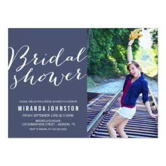 Navy Photo Bridal Shower Invitations