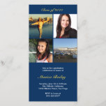 """Navy picture block graduation announcement invite<br><div class=""""desc"""">Proudly show off your new graduate with this easy to customize photo graduation announcement. Feature four class photos or favorite snapshots to illustrate how far this hardworking graduate had come. Photos are stylishly stacked in square blocks. Personalized it with your class year and graduation information. These graduation announcement cards will...</div>"""