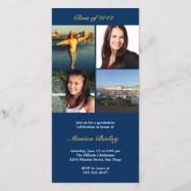 Navy picture block graduation announcement invite