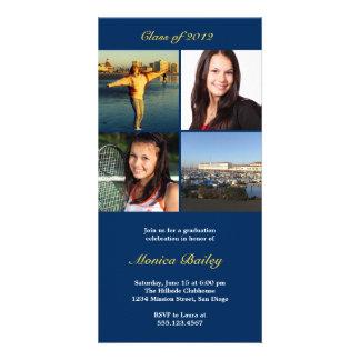 Navy picture block graduation announcement invite