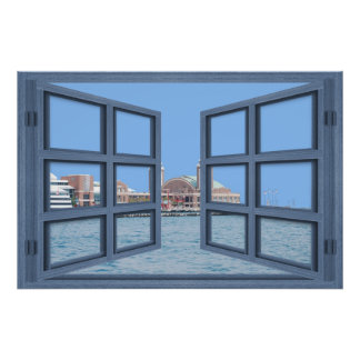 Navy Pier 6 Pane Open Window Poster