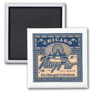 Navy Pier Chicago 2 Inch Square Magnet