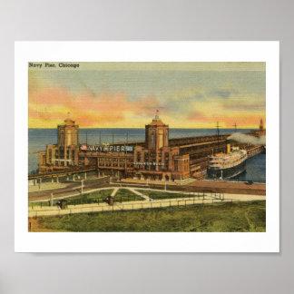 Navy Pier, Chicago, Illinois Vintage Poster