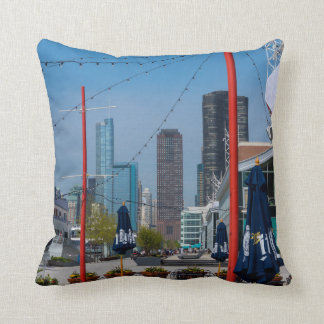 Navy Pier Lines Throw Pillow