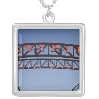 Navy Pier sign in Chicago Illinois USA Square Pendant Necklace
