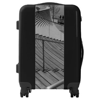 Navy Pier Stairs Grayscale Luggage
