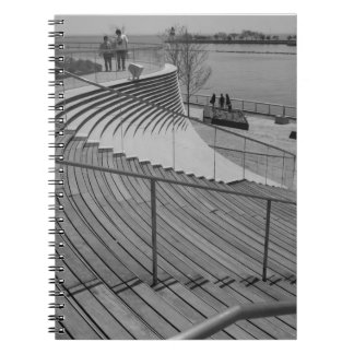 Navy Pier Stairs Grayscale Notebook